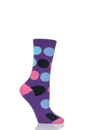 Ladies 1 Pair SOCKSHOP Patterned Colour Burst Cotton Socks with Smooth Toe Seams
