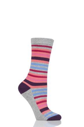 Ladies 1 Pair SockShop Striped Colour Burst Cotton Socks with Smooth Toe Seams Coral 4-8 Ladies