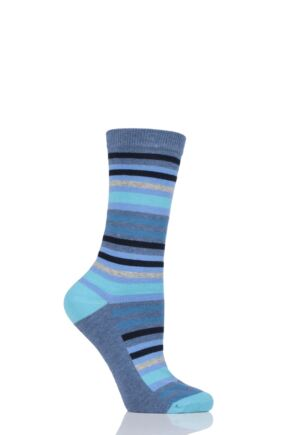 Ladies 1 Pair SockShop Striped Colour Burst Cotton Socks with Smooth Toe Seams