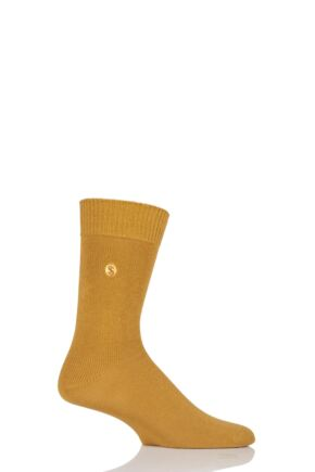 Mens 1 Pair SockShop Colour Burst Cotton Socks Dark Mustard 7-11 Mens