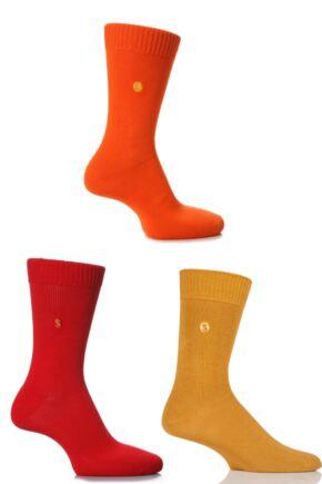 Mens 3 Pair SOCKSHOP Colour Burst Cotton Socks with Smooth Toe Seams