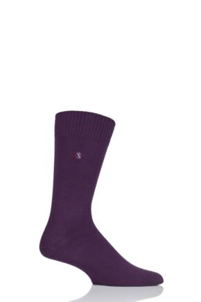 Mens 1 Pair SockShop Colour Burst Cotton Socks with Smooth Toe Seams Raisin 11-14