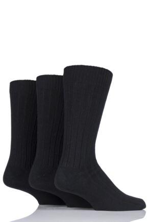 Mens 3 Pair SOCKSHOP Ribbed Cotton Socks