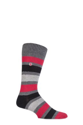 Mens 1 Pair SockShop Striped Colour Burst Socks Black / Red 12-14