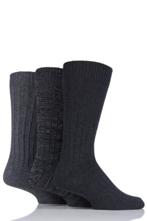 Mens 3 Pair SOCKSHOP Ribbed Cotton Socks