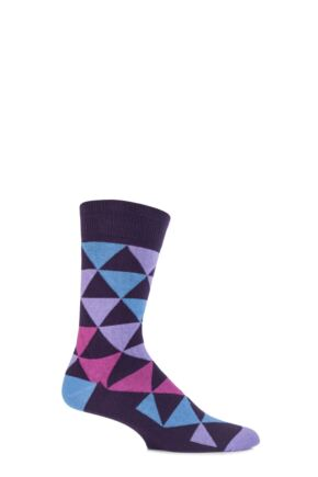 Mens 1 Pair SockShop Colour Burst Patterns Cotton Socks Purple 6-11