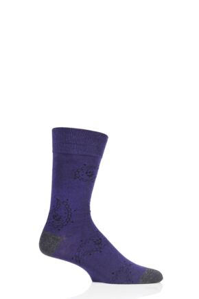 Mens 1 Pair SockShop Colour Burst Patterns Cotton Socks Paisley 11-14 Mens