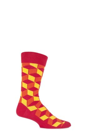 Mens 1 Pair SockShop Colour Burst Patterns Cotton Socks Orange 6-11