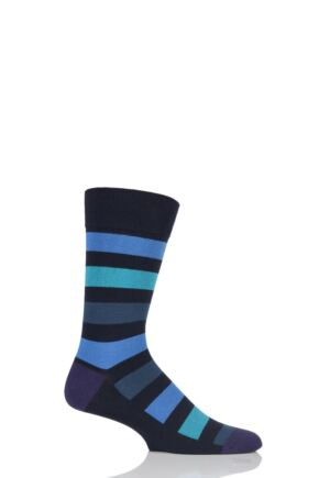 Mens 1 Pair SockShop Colour Burst Tonal Stripe Socks Blue Tones 12-14 Mens