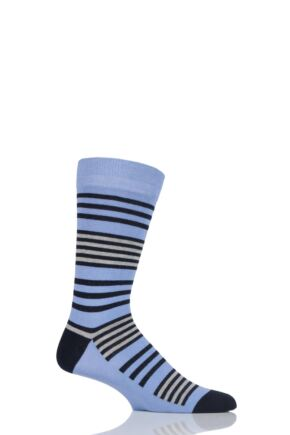 Mens 1 Pair SOCKSHOP Colour Burst Tonal Stripe Socks