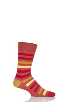 Mens 1 Pair SockShop Colour Burst Tonal Stripe Socks Earth Reds 7-11 Mens