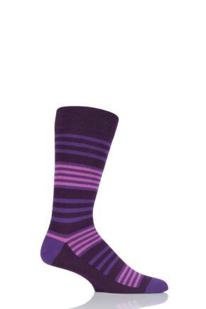 Mens 1 Pair SockShop Colour Burst Tonal Stripe Socks Liquorice 11-14 Mens