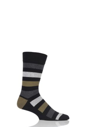 Mens 1 Pair SockShop Colour Burst Tonal Stripe Socks