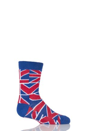 Kids 1 Pair SockShop Union Jack Design Cotton Rich Socks 9-12 Kids - Red/blue