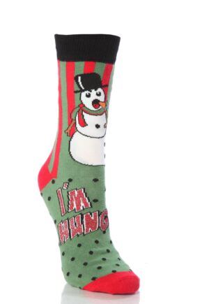 Ladies 1 Pair SockShop Dare To Wear Christmas Socks - I'm Hungry 4-8 Ladies