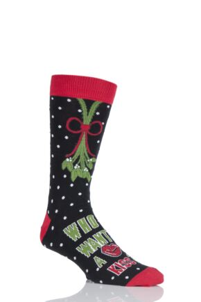 Mens 1 Pair SockShop Dare To Wear Christmas Socks - Who Wants A Kiss