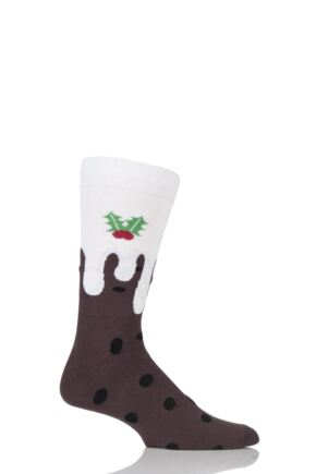 Mens 1 Pair SockShop Dare To Wear Christmas Pudding Cotton Socks Brown 12-14 Mens