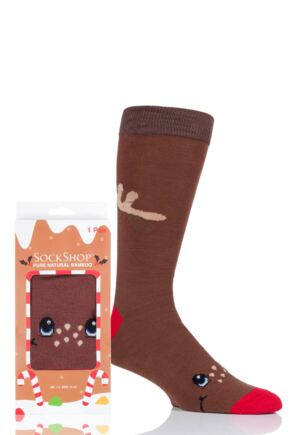 Mens and Ladies SockShop 1 Pair Lazy Panda Bamboo Rudolph Christmas Gift Boxed Socks