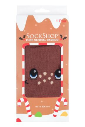 Mens and Ladies SockShop 1 Pair Lazy Panda Bamboo Rudolph Christmas Gift Boxed Socks