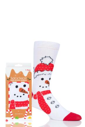 Mens and Ladies SockShop 1 Pair Lazy Panda Bamboo Snowman Christmas Gift Boxed Socks