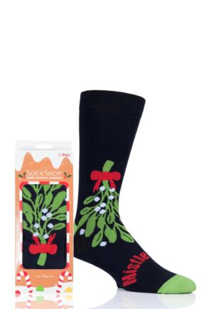 Mens and Ladies SOCKSHOP 1 Pair Lazy Panda Bamboo Mistletoes Christmas Gift Boxed Socks