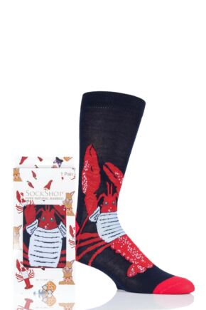 Mens and Ladies SockShop 1 Pair Lazy Panda Bamboo Lobster Gift Boxed Socks