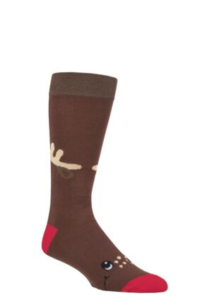 Mens and Ladies SOCKSHOP Lazy Panda 1 Pair Rudolph Bamboo Socks