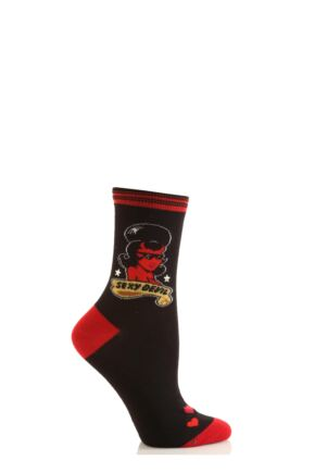 Ladies 1 Pair SOCKSHOP Dare To Wear Novelty Socks - Sexy Devil 75% OFF Black