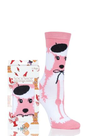 Ladies SockShop 1 Pair Lazy Panda Bamboo French Poodle Gift Boxed Socks