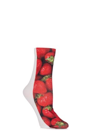 Ladies 1 Pair SockShop Dare to Wear Pixel Perfect Strawberries Printed Socks Red 4-8
