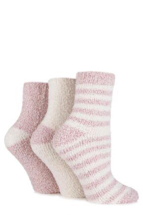 Ladies 3 Pair SockShop Plain and Striped Cosy Bed Socks Powder Pink 4-8