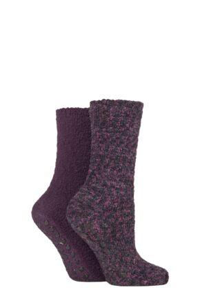 Ladies 2 Pair SOCKSHOP Cosy Slipper Socks with Grip