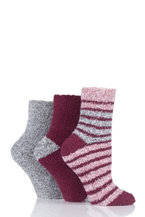 Ladies 3 Pair SOCKSHOP Two Tone Cosy Bed Socks Alpine Red 4-8 Ladies