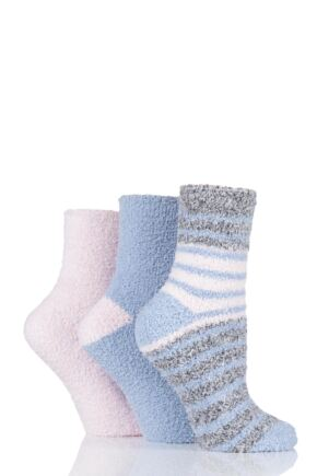 Ladies 3 Pair SOCKSHOP Two Tone Cosy Bed Socks