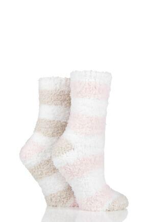 Ladies 2 Pair SOCKSHOP Fluffy and Cosy Leisure Socks Shetland 4-8 Ladies
