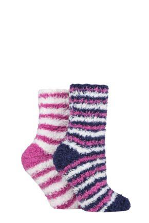Ladies 2 Pair SOCKSHOP Fluffy and Cosy Leisure Socks Azalea 4-8 Ladies