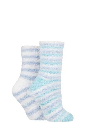 Ladies 2 Pair SOCKSHOP Fluffy and Cosy Leisure Socks Cornflower 4-8 Ladies