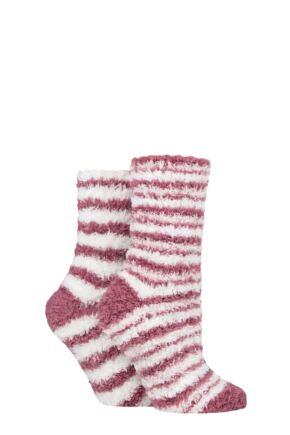 Ladies 2 Pair SOCKSHOP Fluffy and Cosy Leisure Socks Opal Pink / White 4-8 Ladies