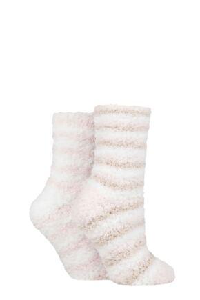 Ladies 2 Pair SOCKSHOP Fluffy and Cosy Leisure Socks Shetland / Pink 4-8 Ladies