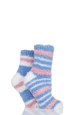 Ladies 2 Pair SockShop Fluffy and Cosy Leisure Socks