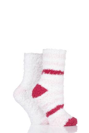 Ladies 2 Pair SOCKSHOP Fluffy and Cosy Leisure Socks Opal Pink 4-8 Ladies