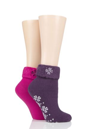 Ladies 2 Pair SOCKSHOP Thermal Home and Bed Socks Purple Pansy 4-8 Ladies