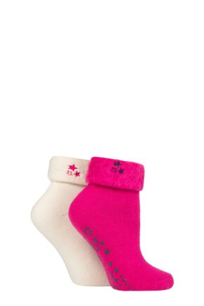 Ladies 2 Pair SOCKSHOP Thermal Home and Bed Socks Garnet Rose 4-8 Ladies