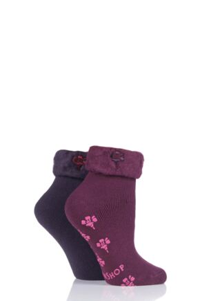 Ladies 2 Pair SockShop Thermal Home and Bed Socks Dark Ruby 4-8 Ladies
