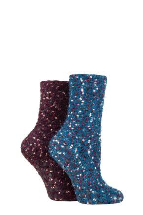 Ladies 2 Pair SOCKSHOP Popcorn Feather Slipper Socks with Grip
