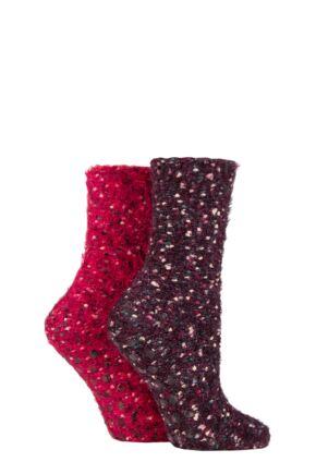 Ladies 2 Pair SOCKSHOP Popcorn Feather Slipper Socks with Grip Velvet Rose 4-8 Ladies
