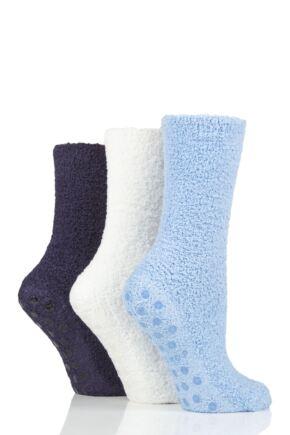 Ladies 3 Pair SOCKSHOP Super Cosy Socks with Grips