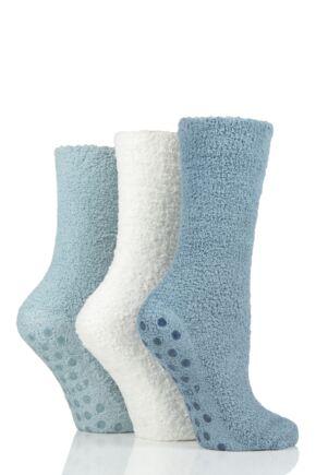 Ladies 3 Pair SOCKSHOP Super Cosy Socks with Grips Adriatic Blue 4-8 Ladies