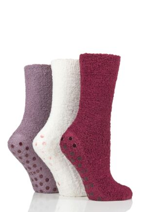 Ladies 3 Pair SOCKSHOP Super Cosy Socks with Grips