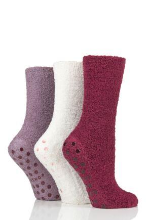 Ladies 3 Pair SOCKSHOP Super Cosy Socks with Grips Beet 4-8 Ladies